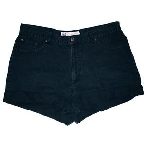 Vintage Black Wash High Waisted Cuffed Shorts 34